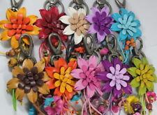 2 Tone Handmade Flower Keychain Handbag Genuine Leather Women Craft Clasp Car