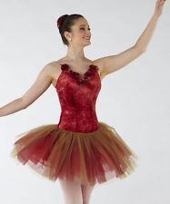 NWT Dance Costume Ballet Organza Roses Short Tutu cardinal/gold tulle Velvet bdy