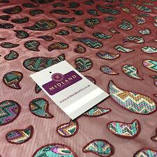 "Maroon Paisley Lightweight burnout chiffon dress scarf fabric 58"" M145-60 Mtex"