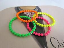 Genuine Swarovski Neon Glass Bead Bracelet Pink Green Yellow Orange Handmade