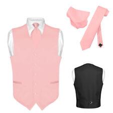 Men's Dress Vest NeckTie Hanky BLUSH DUSTY ROSE PINK Neck Tie Set Suit Tuxedo