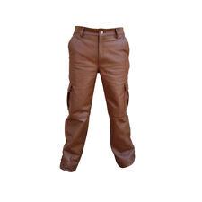 Sexy Hombre Auténtico Marrón Piel de vaca 6 Pockets Militar Pantalones Vaqueros