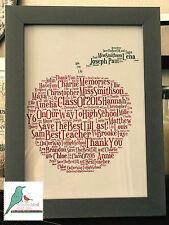 Thank you Teacher / Nursery / Childminder Gift personalised word art