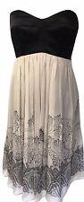 Karen Millen Strapless Oriental Print Pleated Dress Black Beige Sz 12 16 40 44