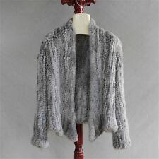 Real Knitted Rabbit Fur Cardigan Coat Thick Irregular  Jacket Garment On Sale