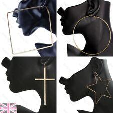 LARGE GOLD FASHION geometric EARRINGS hoop/drops BIG SHAPES thin metal hoops