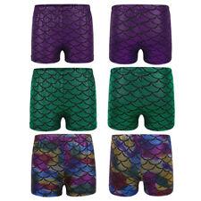Kids Girls Gymnastic Leotard Shorts Gym Sports Mermaid Scales Dancewear Bottoms