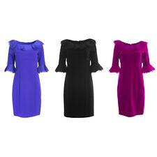 NUE by Shani Women's Ruffled 3/4 Sleeve Sheath Dress S238 $320 NEW