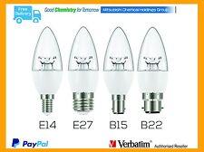 Verbatim LED Candle E14/27/B15/22 6W Bulb WW DIM Clear Candle Globe