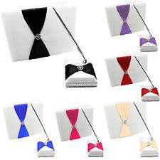 Satin Wedding Guest Book Pen Set, White Cover Ribbon Bowknot, Diamante Crystal