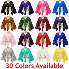 Satin Belly Dance Tie Top Flair Wrap Choli Gypsy Haut Danse Blouse 30 Colors