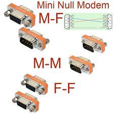High Quality Mini Null Modem DB9 Female Male plug Adapter Gender Changer cross