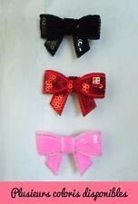 Pince clip barette cheveux mini noeud bow sequin original plusieurs couleurs