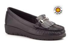 Zapato cuña mocasín piel color negro o marrón tallas 36 a 41