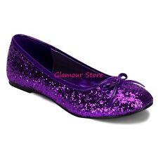 Sexy BALLERINE GLITTER tacco flat dal 35 al 42 VIOLA fiocco scarpe GLAMOUR chic