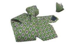 Cravatta lana uomo verde erba paisley beige blu cravatte e a scelta pochette