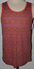Men's Carbon Orange Geo Sleeveless Tank Muscle Shirt Top Sizes S, L, XL, 2XL