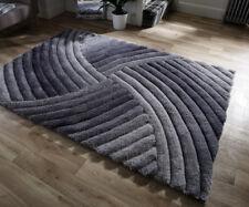 Grey Colour Modern Swirl Striking Deep Piled 3D Affect Super Soft Shaggy Rug