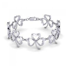 Celtic Shamrock & Hearts sterling silver Bracelet by peter stone Unique Jewelry