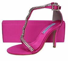 Ladies Wedding Party Heel Shoe Evening Sandal Diamante Hot Fuchsia Pink NEW