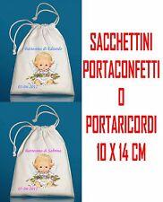 10pz SACCHETTI PORTACONFETTI BOMBONIERA Battesimo ANGELO personalizzati con nome