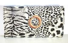 BORSELLO PORTAFOGLIO donna NERO BIANCO pochette animalier pelle clutch bag 1260