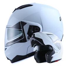 NEW 1Storm DOT Motorcycle Bike Modular Flip up Full Face Helmet Sun Visor White