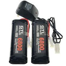2 pieza GTL 7.2V 6800mAh NiMH batería recargable RC Tamiya Plug Negro + Cargador