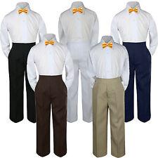 3pc Yellow  Bow Tie Suit Shirt Pants Set Baby Boy Toddler Kid Uniform S-7