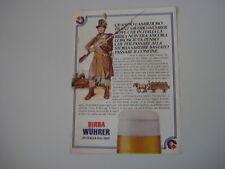 advertising Pubblicità 1980 BIRRA BEER WUHRER