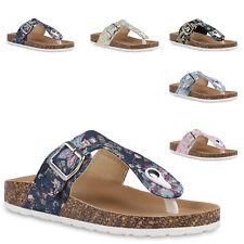 Damen Sandalen Pantoletten Hausschuhe Korkoptik Freizeit Schuhe 830680 Trendy