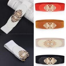 Women Diamante Wide Waist Belt Vintage Elastic Stretch Corset Buckle Waistband B