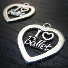 I Love Ballet Charms - Wholesale Heart Pendant Findings C2957 - 5, 10, 20PCs