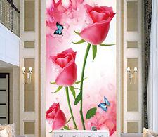 3D Roses Butterflys 8 Wall Paper Murals Wall Print Wall Wallpaper Mural Au Lemon