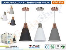 V-TAC VT-7520 LAMPADARIO A SOSPENSIONE PENDENTE IN METALLO PER LAMPADE E27