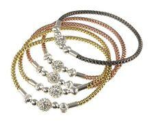 THREE 925 Sterling silver stretch stacking beaded bracelets & shamballa charm