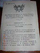 REGIO DECRETO 1884 DIST FRAZ CERASUOLO DA COMUNE ROCCHETTA A VOLTURNO FILIGNANO