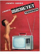 PUBLICITE ADVERTISING   1966    DUCRETET  THOMSON  téléviseur portable