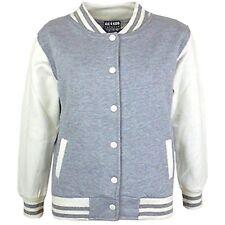 Kids Girls Baseball Grey Jacket Varsity Style Plain School Jacket Top 5-13 Years