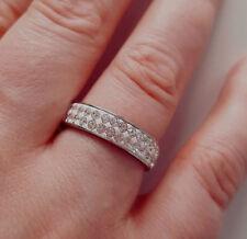 """bisutería Anillo Acero Inoxidable """"diamante"""" piedras brillantes color plata"""