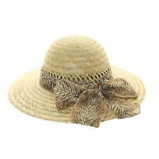 Ladies Girls Wide Brim Straw Summer Sun Hat with Scarf Trim