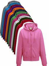 Plain Girls Ladies Womens Zip Up Zipper Hoodie Hoody Hooded Sweat Jumper Jacket