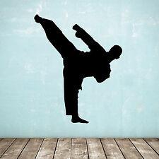 Karate / Taekwondo Adesivo Muro - in piedi KICK Arti Marziali / SILHOUETTE SPORTIVA