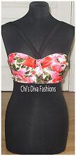 ASOS Rose Print Padded Longline Woven Bikini Top Size 36C, EU 80C/ US 36C
