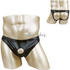 Men Backless Brief Underwear PVC Faux Leather Jockstrap Bikini Briefs Underpants