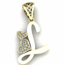 0.15ct Genuine Round Cut Diamond Ladies Alphabet Initial 'L' Pendant 10K Gold