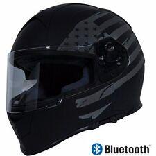 Bluetooth Motorcycle Helmet Dual Visor Full Face Torc T14 Black Flag