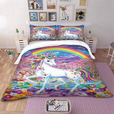 Unicorn Rainbow Duvet Quilt Doona Cover Set Single Double Queen King Size Bed