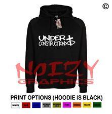 Under Construction Cross Fish Christian Hoodie Black Sweatshirt Jesus Religious