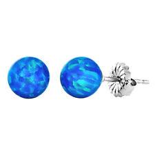 Tropical Blue Synthetic Australian Opal Ball Stud Post Earrings, Oceans